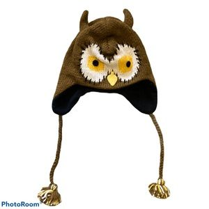 Green Fields Wool Knit Owl Hat